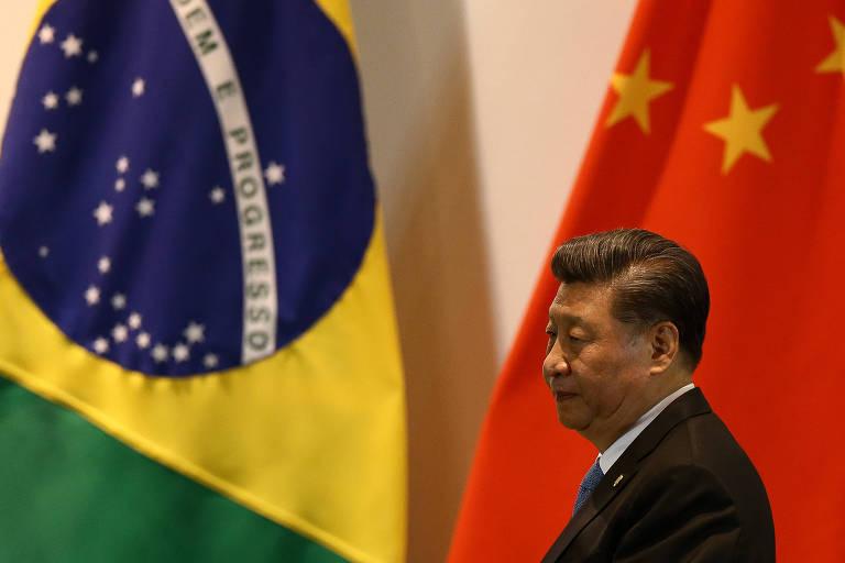 O dirigente chinês, Xi Jinping, durante reunião de cúpula dos Brics, no Palácio do Itamaraty