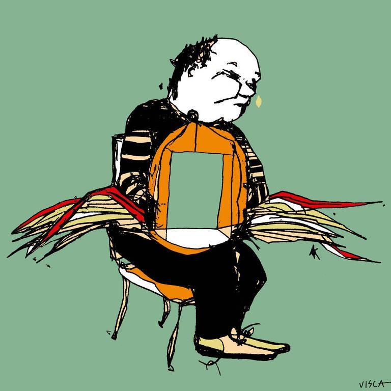 Ilustração de um homem sentado segurando uma gaiola aberta com asas