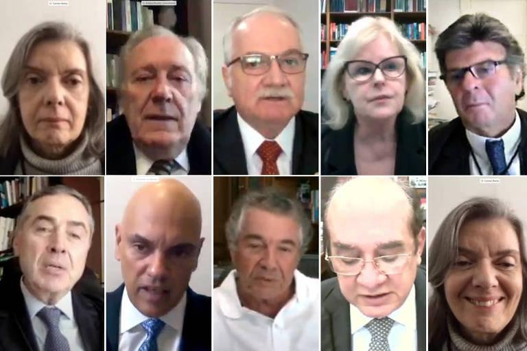 Ministros do Supremo participam da primeira sessão virtual da história, devido à Covid-19