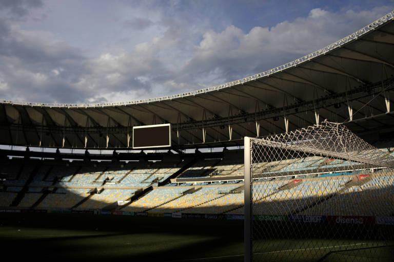 O Maracanã vazio antes da partida entre Flamengo e Portuguesa, pelo Estadual do Rio, partida disputada antes da paralisação do futebol no Brasil