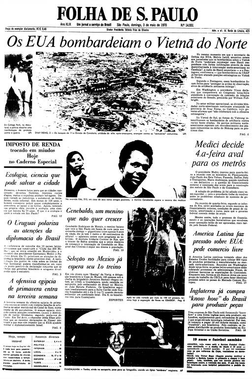 Primeira Página da Folha de 3 de maio de 1970