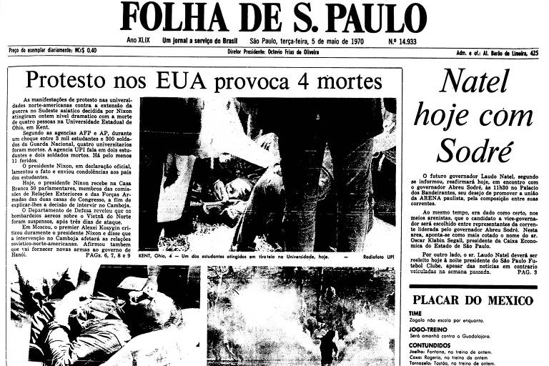 1970: Quatro estudantes americanos são mortos em protesto contra guerra
