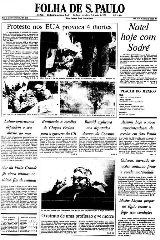 Primeira Página da Folha de 5 de maio de 1970