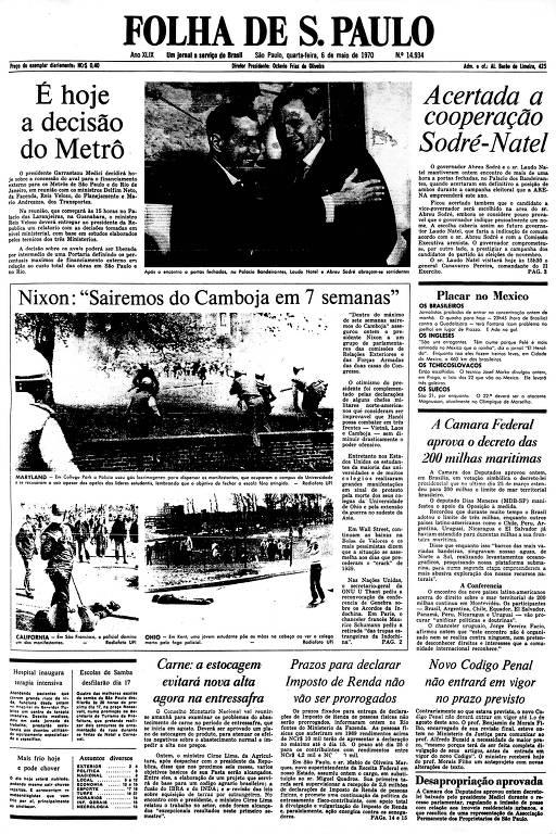 Primeira Página da Folha de 6 de maio de 1970