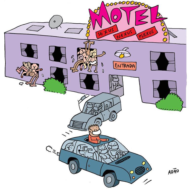 Ilustração Adão 16 de abril de 2020  para matéria sobre motéis em sp funcionando na quarentena