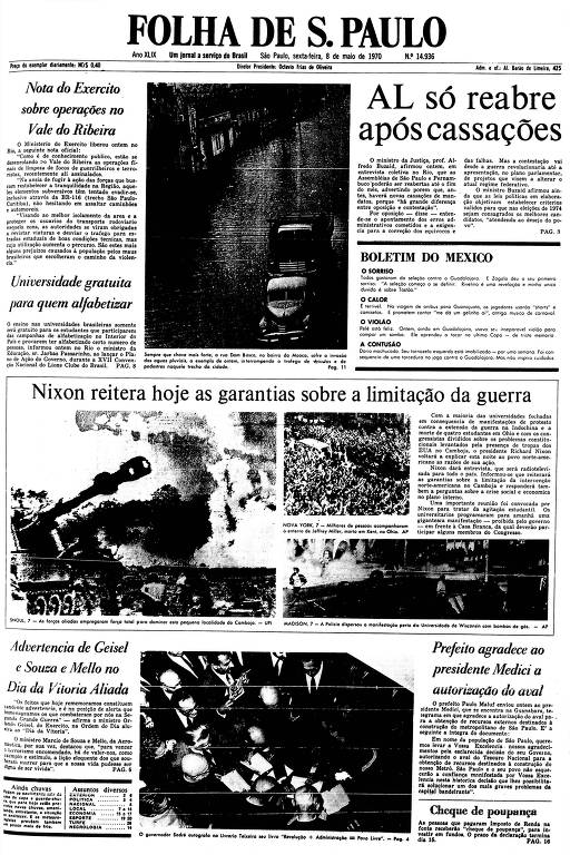 Primeira Página da Folha de 8 de maio de 1970