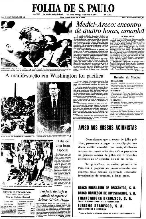 Primeira Página da Folha de 10 de maio de 1970