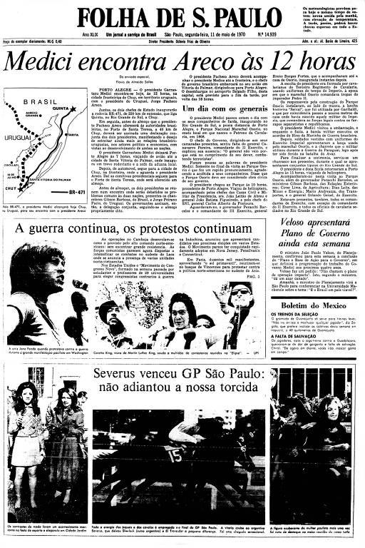 Primeira Página da Folha de 11 de maio de 1970
