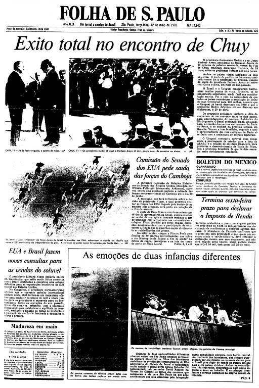 Primeira Página da Folha de 12 de maio de 1970