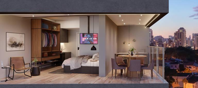 Ilustração do apartamento decorado do ON Paulista, empreendimento lançado online pela Vitacon