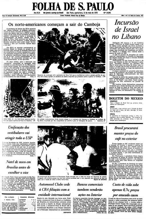 Primeira Página da Folha de 13 de maio de 1970