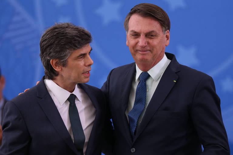 O presidente Jair Bolsonaro durante cerimônia de posse do novo Ministro da Saúde Nelson Teich, que substitui Luiz Henrique Mandetta