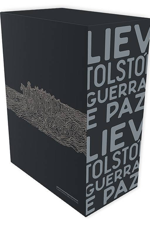 """Box com dois volumes de """"Guerra e Paz"""", de Liev Tolstói, em edição da Companhia das Letras."""