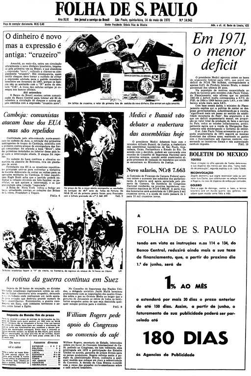 Primeira Página da Folha de 14 de maio de 1970