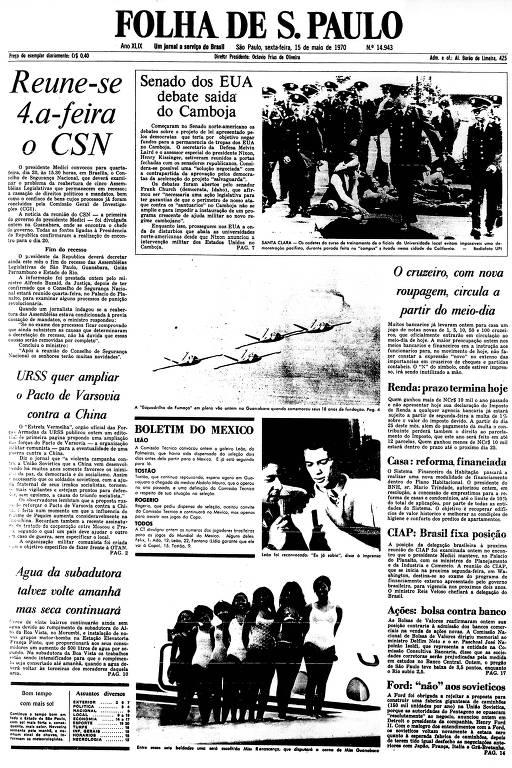 Primeira Página da Folha de 15 de maio de 1970