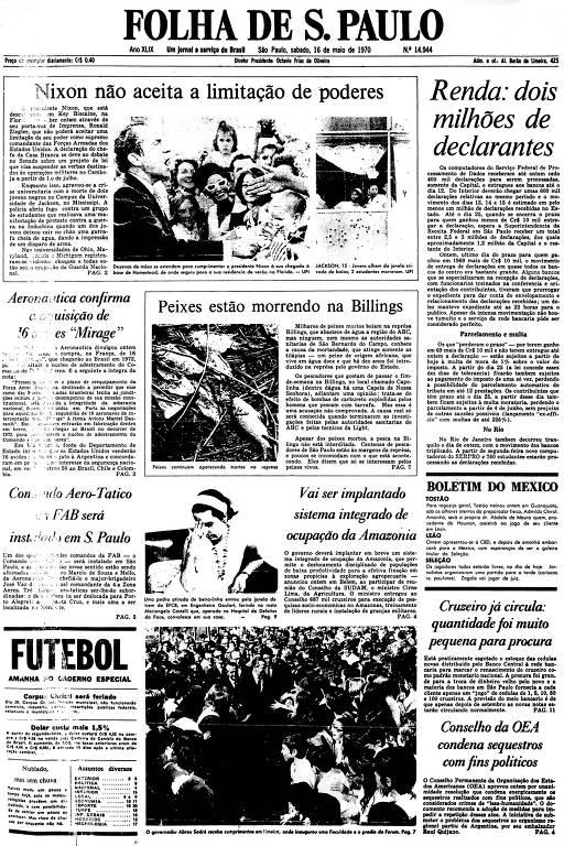 Primeira Página da Folha de 16 de maio de 1970