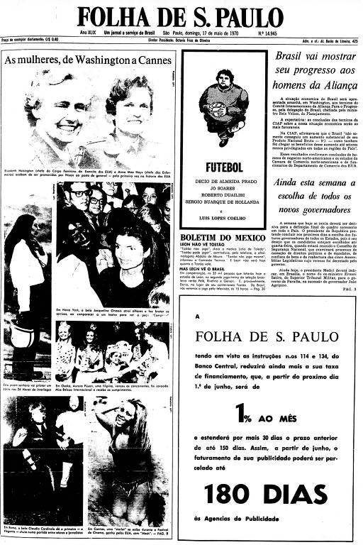 Primeira Página da Folha de 17 de maio de 1970