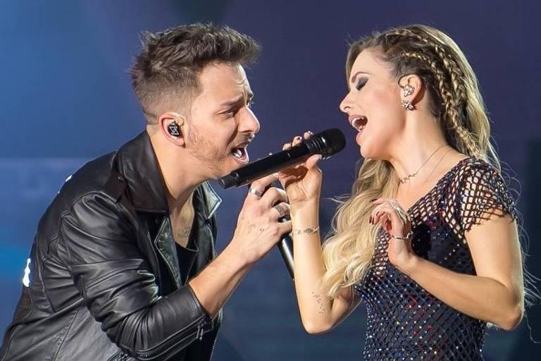 Sandy e Junior em show da turnê Nossa História, no Allianz Parque, em SP