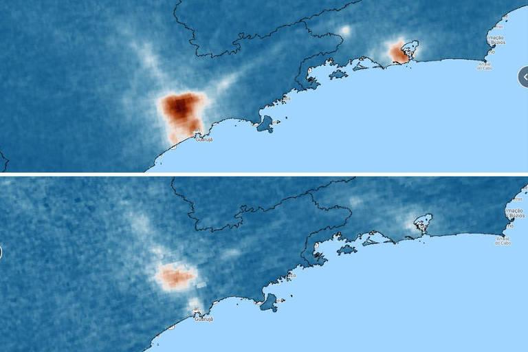 Imagens de satélite mostram diminuição da mancha de poluição em São Paulo e no Rio; a comparação é entre imagens de 1º de abril de 2019 (no alto) e a mesma data em 2020