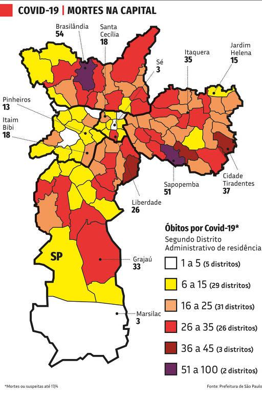 mapa das mortes por covid-19 na cidade de são paulo