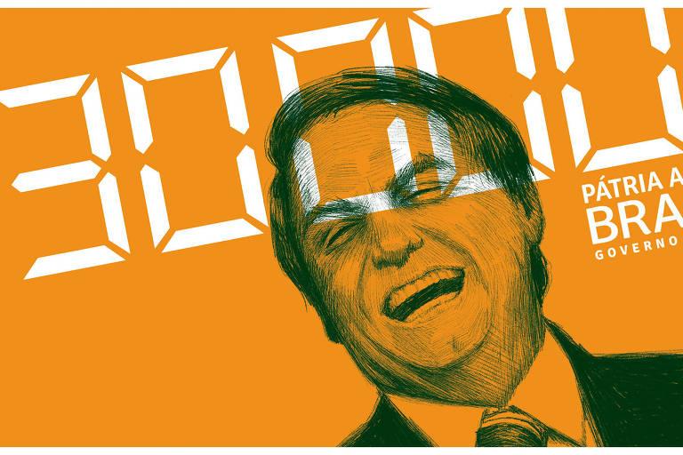 """Ilustração de Jair Bolsonaro rindo. O número """"30000"""" e """"Pátria amada Brasil""""estão escritos em cima da imagem"""