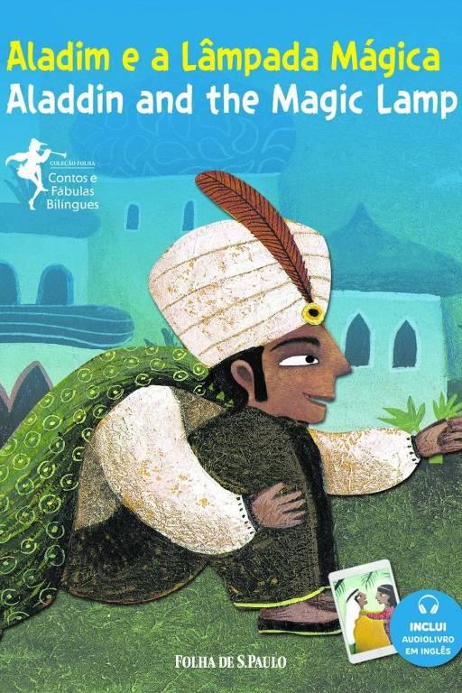 Capa do volume da Coleção Folha Contos e Fábulas Bilíngues que conta a história de 'Aladim e a Lâmpada Mágica', ou 'Aladdin and the Magic Lamp'