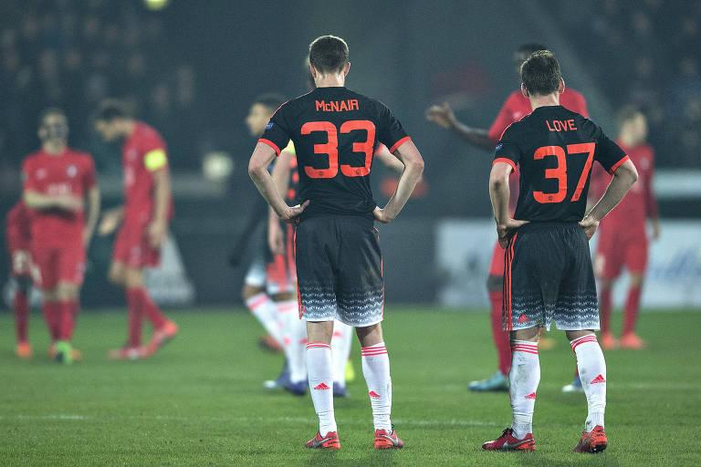 O Midtjylland derrotou o  Manchester United em seu estádio na Liga Europa de 2016