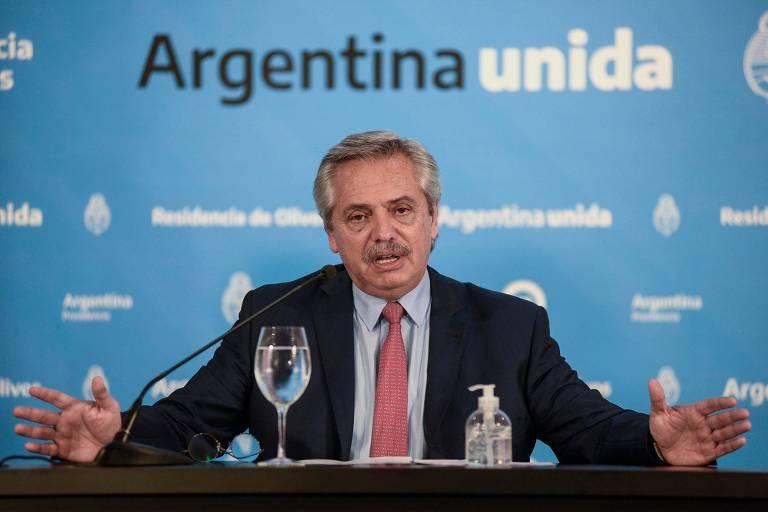 O presidente Alberto Fernández durante entrevista coletiva em Buenos Aires