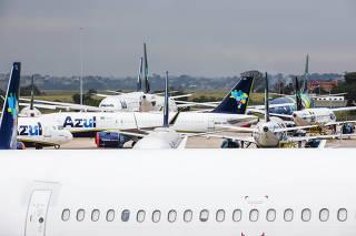Aeronaves da Azul em Viracopos, em Campinas