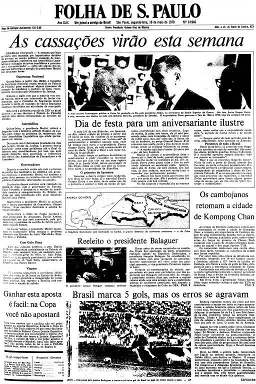 Primeira Página da Folha de 18 de maio de 1970