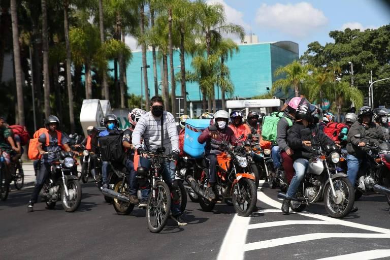 Protesto de entregadores de delivery em SP; concentração ocorreu no Bosque da Saúde (zona sul)