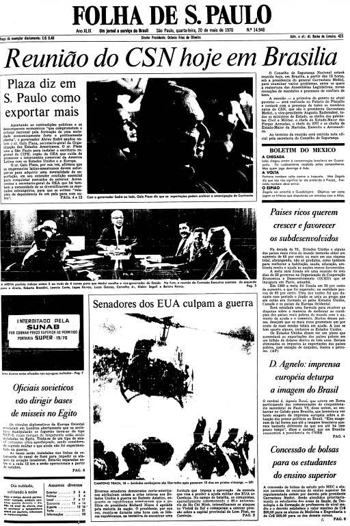 Primeira Página da Folha de 20 de maio de 1970