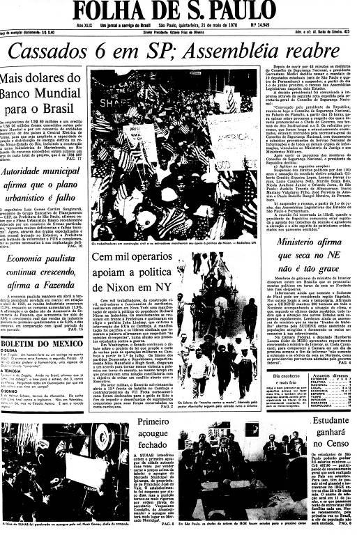 Primeira Página da Folha de 21 de maio de 1970