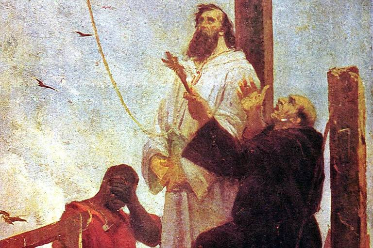 Pintura retrata o alferes Tiradentes pouco antes de ser enforcado como punição pela participação na Conjuração Mineira de 1789