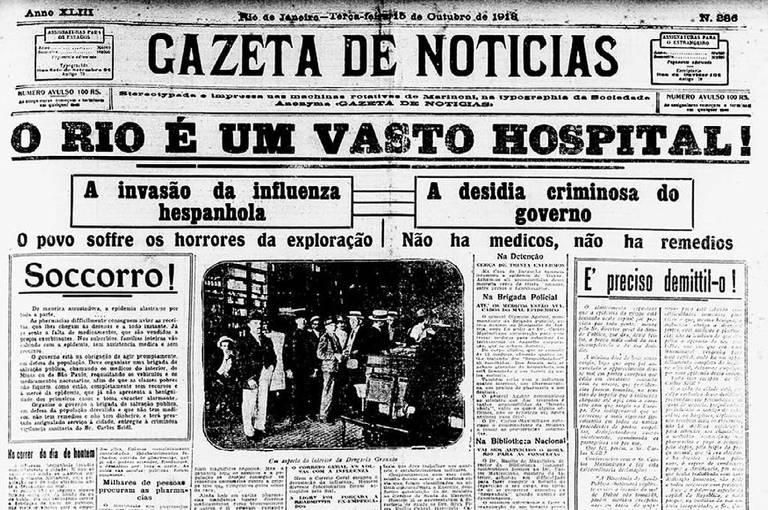 """Gazeta de Notícias, 15 de outubro de 1918, noticia os efeitos da """"gripe espanhola"""" no Rio de Janeiro"""