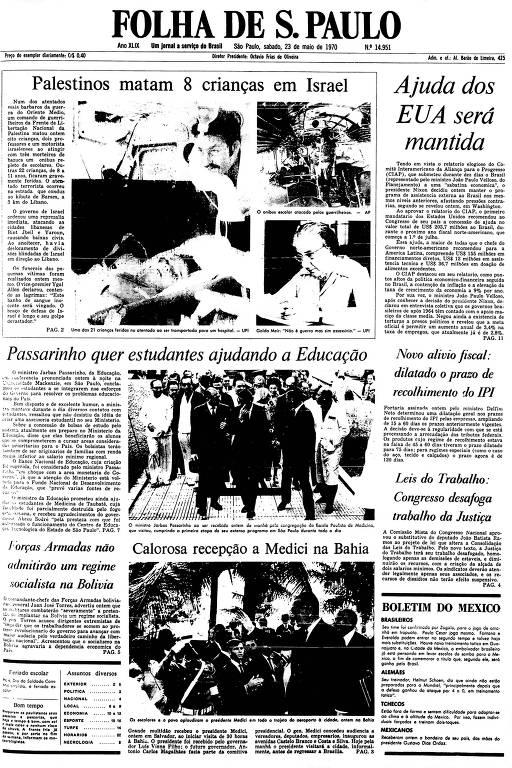 Primeira Página da Folha de 23 de maio de 1970