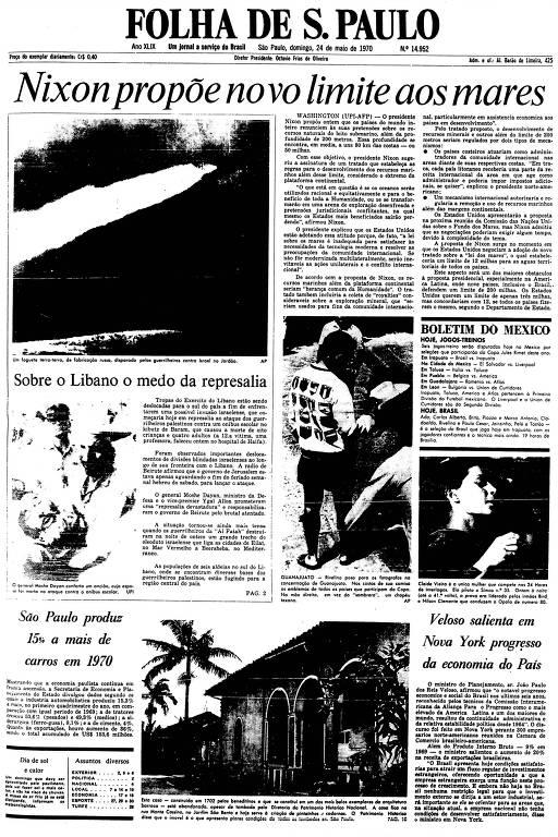 Primeira Página da Folha de 24 de maio de 1970