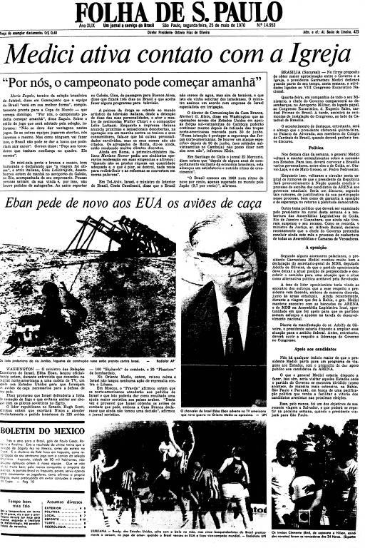 Primeira Página de 25 de maio de 1970