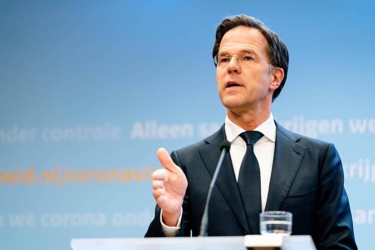 O primeiro-ministro da Holanda, Mark Rutte, durante entrevista coletiva em Haia