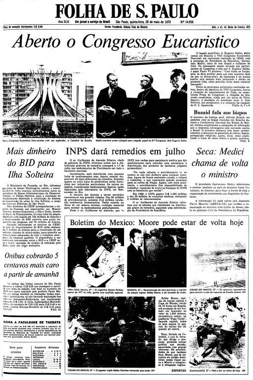 Primeira Página da Folha de 28 de maio de 1970