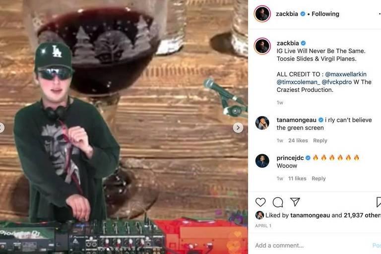 Zack Bia DJing em uma tela verde exibindo o copo de vinho tinto que aparece nas lives do Respectfully Justin Show