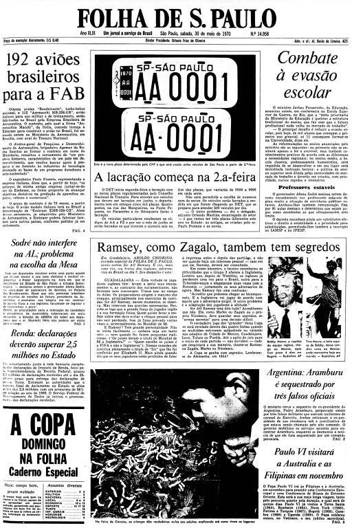 Primeira Página da Folha de 30 de maio de 1970