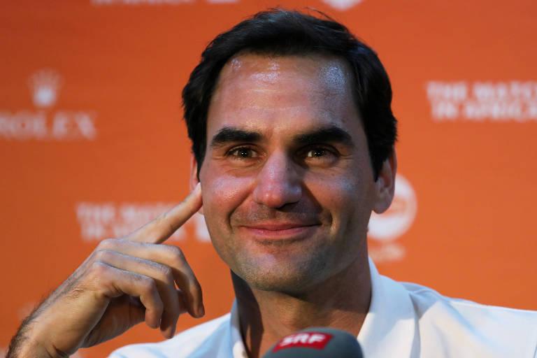 Roger Federer durante entrevista em evento na África do Sul