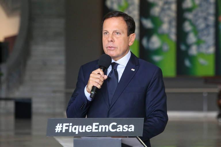 Governador do Estado de São Paulo, João Doria, durante pronunciamento à imprensa sobre o combate ao coronavírus; Doria pretende flexibilizar a quarentena