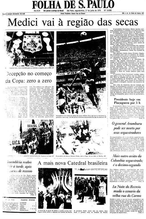 Primeira Página da Folha de 1º de junho de 1970
