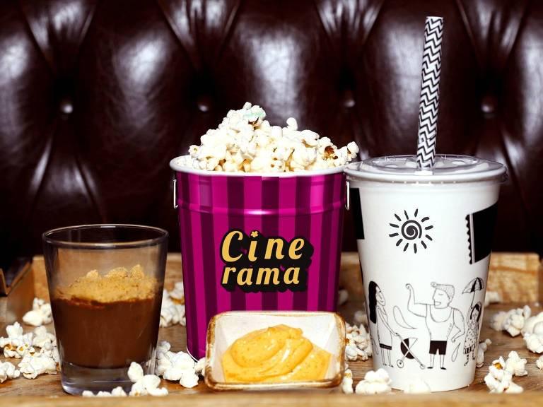 Combo Cinerama Gourmet, com pipoca, refrigerante e sobremesa, para delivery