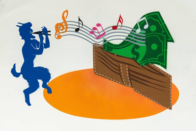 Ilustração do grafiteiro Ozi para a categoria crédito pessoal mostra um fauno azul tocando um instrumento com a boca; do seu lado, notas de dinheiro saem de uma carteira