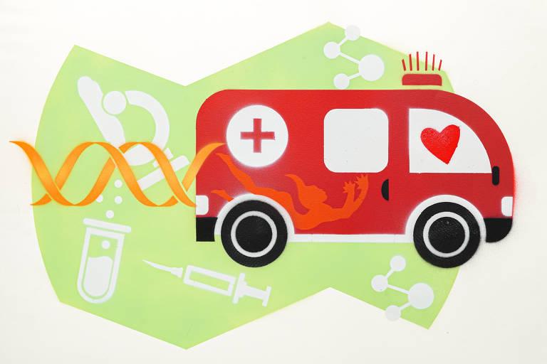 Ilustração do grafiteiro Ozi para a categoria hospital mostra uma ambulância vermelha
