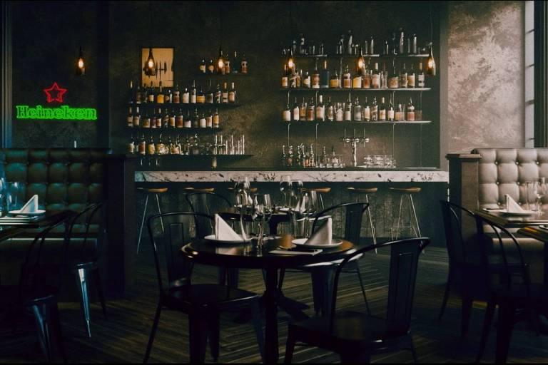 """Cena da campanha """"Brinde do Bem"""", da Heineken, que visa ajudar bares durante a quarentena motivada pelo coronavírus"""