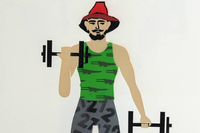 Ilustração do grafiteiro Ozi para a categoria academia mostra um homem levantando peso